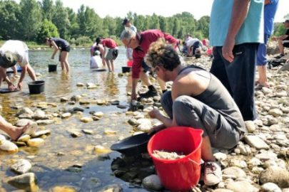 gold panning with friends